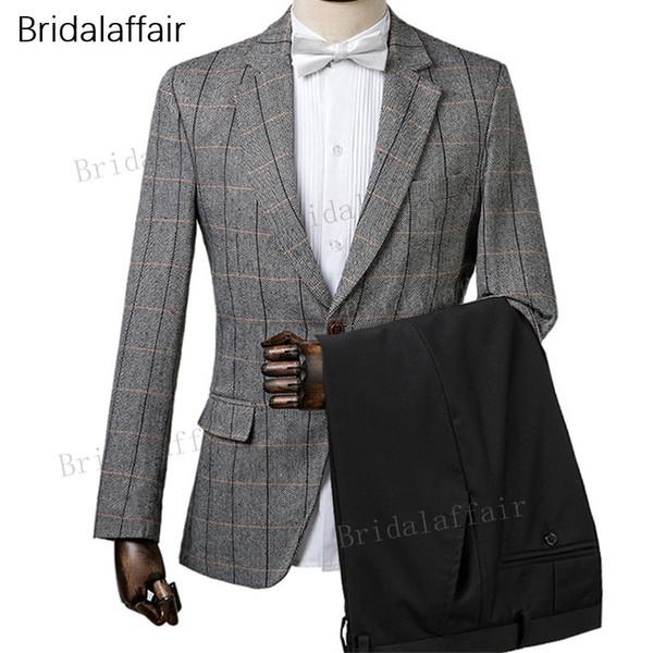 Gwenhwyfar Desigens Custom Made Noivo Smoking Cinza Escuro Xadrez Homens Terno Para O Casamento Formais Fino Mens Ternos 2 Pcs (Jacket + Calça Preta)