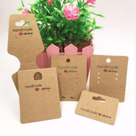 top popular 100pcs Kraft paper handmade with love jewelry cards,necklace\earring\Hairpin packing cards holder set jewelry displays card tags 2021