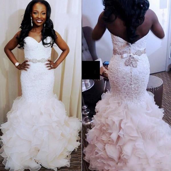 Gorgeous Mermaid Wedding Dresses South African 2018 2019 Sweetheart Lace Beaded Bridal Gowns Organza Ruffles Wedding Vestidos Custom Made Mermaid
