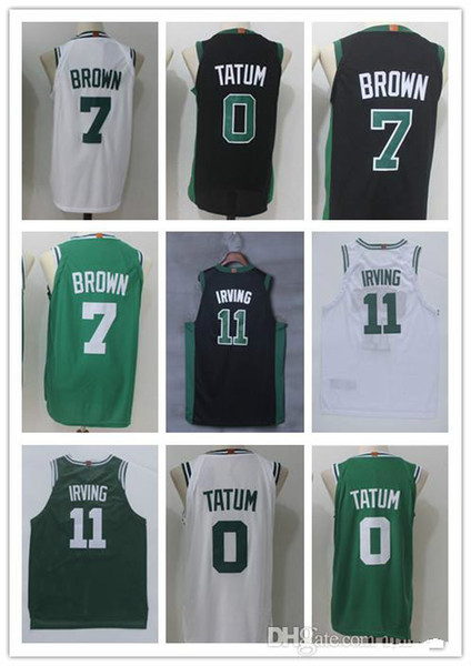 new style 485b2 2eb78 2019 NCAA 2018 New Man 0# Jayson Tatum Jersey 11# Kyrie Irving100% Shirt  Basketball Jerseys 7#Jaylen Brown Tatum Green White Black From Womart_002,  ...