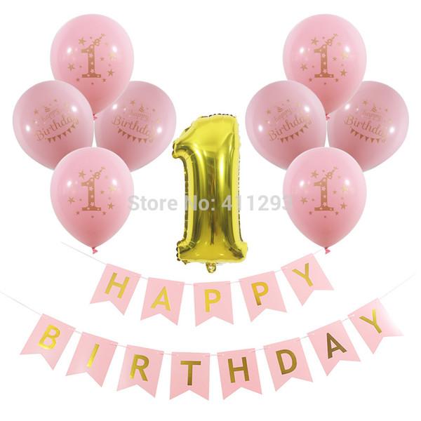 1er joyeux anniversaire bannière premier anniversaire fête décorations ballons imprimés or fille rose garçon bleu enfants fête anniversaire