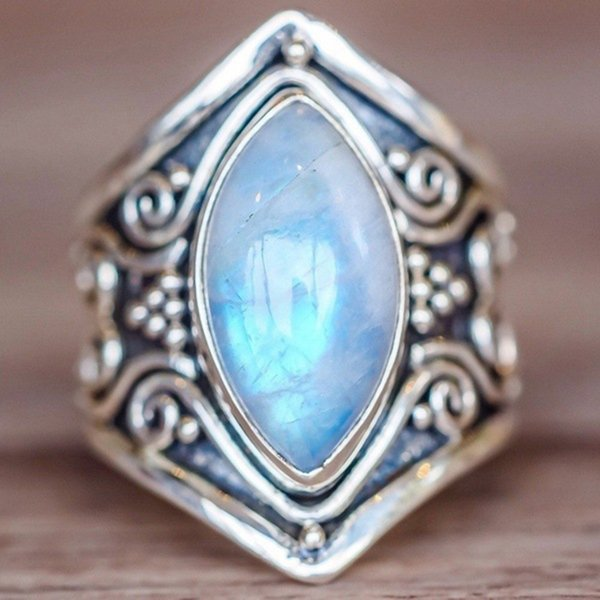 CiNily Vintage Silver Moonstone naturale Boho Boho Fashion Jewelry per le donne Big Ring Size 5-11 NJ11176