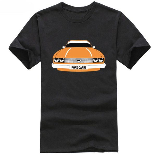 tops new 2018 CUSTOM HTees T-shirt- FORD CAPRI round/square headlight, Pick car colour & plate