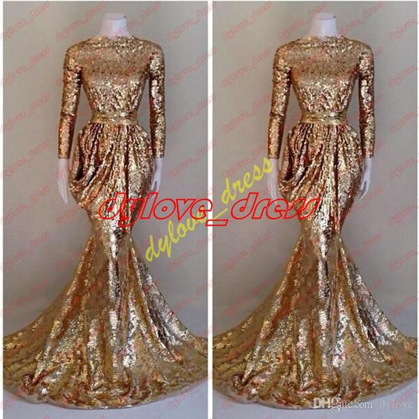 vestido de festa gold prom dresses mermaid 2018 long sexy vestido longo long sleeves evening dress sequined plus size formal prom dress