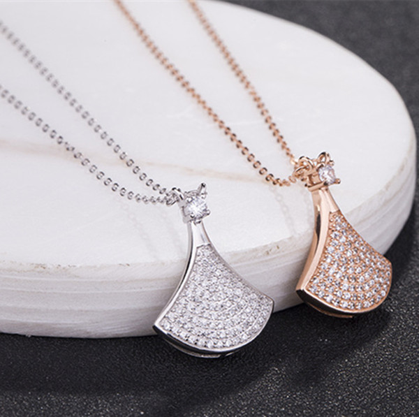New 925 sterling silver small skirt fan shaped Diamond Pendant Necklaces jewelry female fan pendant women's skirt pendant necklace