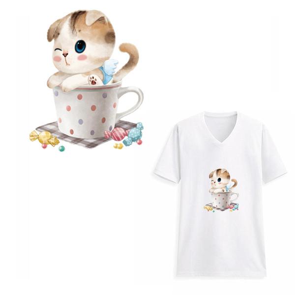 Смешные конфеты кошка теплопередачи патчи дети бытовые железо на моющиеся патч DIY украшения аппликация пергаменты для детское платье