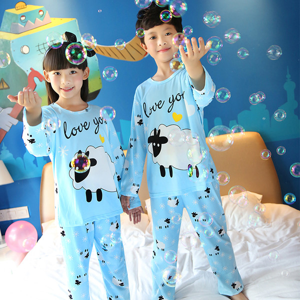 Cartoon Kids Long Sleeves Pajama Sets For Spring 2017 Children 'S Pyjamas Cotton Girls Boy Sleepwear Suit Child Sleepwear