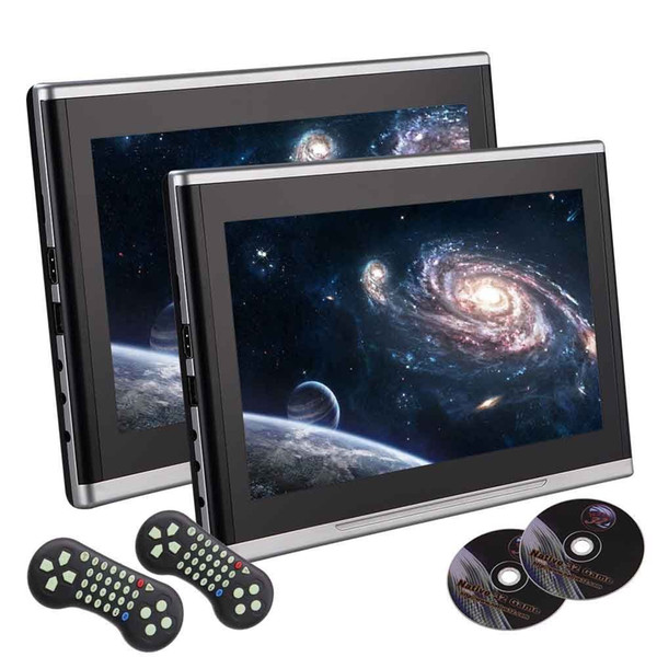 Pair Eincar 10.1'' Black Car DVD/USB/SD/Headrest Video Player LCD Monitor Dual Screen DVD Player Rear seat Entertainment System Wireless