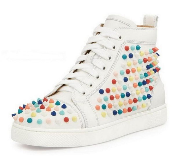 Fashion Red Bottom High Top Women, Chaussures Hommes Spikes Sneakers Chaussures, Chaussures Plates Design Luxe