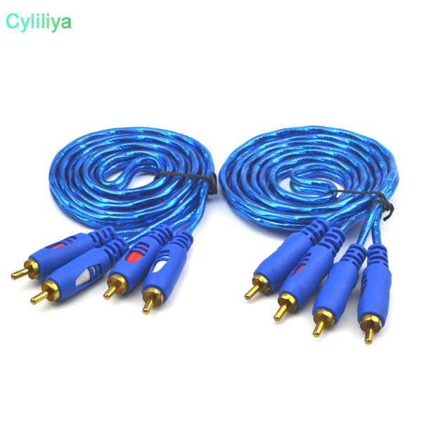 Популярные AV кабель 2RCA к 2RCA кабель позолоченный 3.5 джек аудио RCA кабели наушники AUXJack Splitter для компьютера спикер