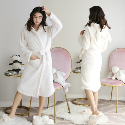 Versão coreana do outono e inverno moda robe coral fleece pijama animal bonito dos desenhos animados camisola feminina robe mulher camisola