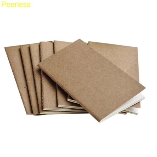 Peerless 6 Size Soft Cowhide Paper NotBlank Notepad Book Vintage Copybook Daily Memos Kraft Cover Journal Notebooks