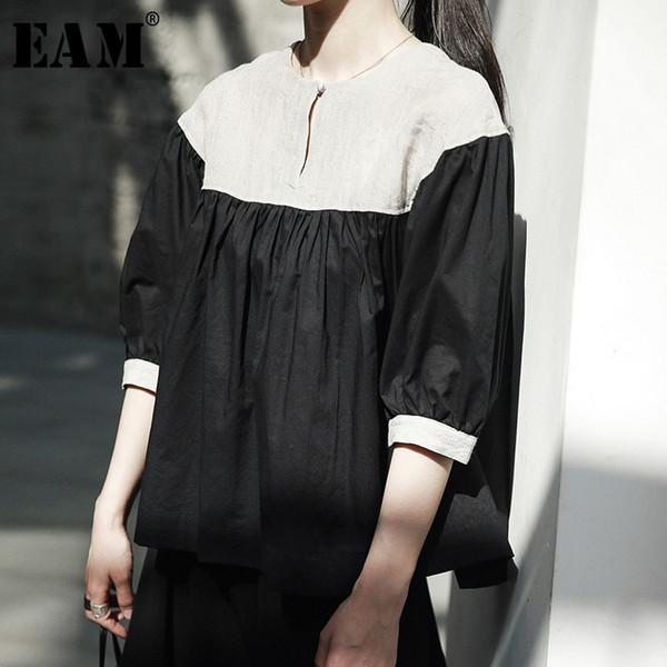 [EAM] 2018 New Autumn Women Black Spliced Pleated O-neck Half Lantern Sleeve Loose Casual Wild Fashion Tide Doll Shirt LA919