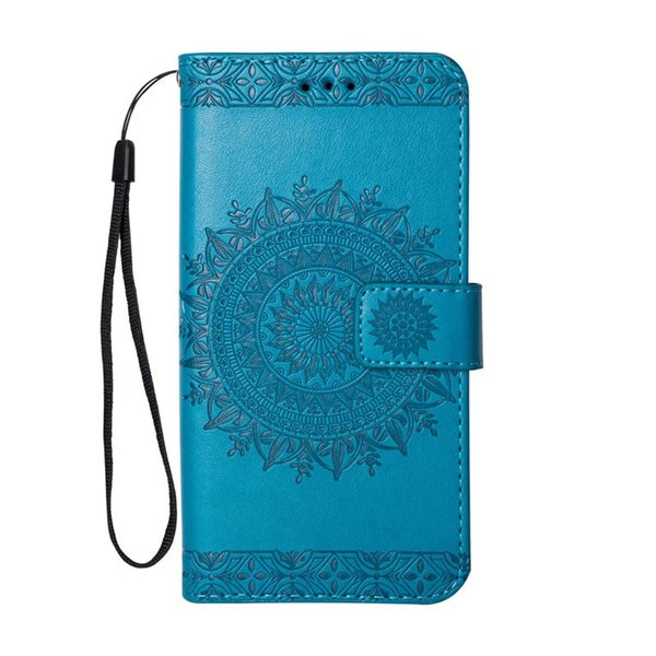 Aesthetic cellphone cover for samsung galaxy note 8 case Embossed sunflower PU kickstand case for Goophone X wallet case with hanging strap