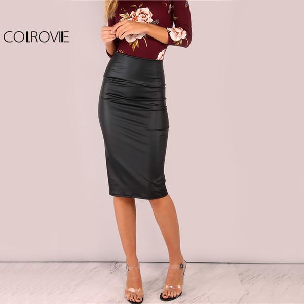 on sale 29dcc dfd0f Acquista X COLROVIE Gonna Longuette Temperata Nera Gonna ...