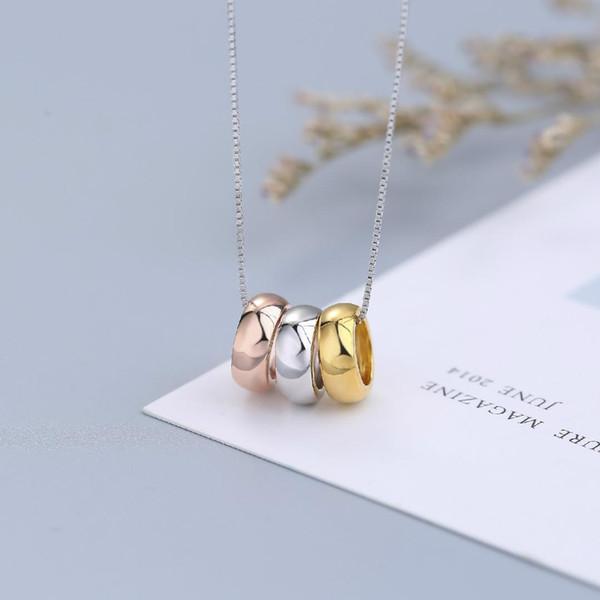 Requintado coréia 925 prata três cores três círculo pingente direto da fábrica colar de jóias por atacado mulheres