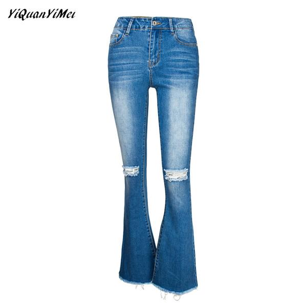 100% de alta calidad primera vista estilos de moda Compre Pantalón Ancho Pantalón Pantalón Vaqueros Rotos Para Mujer Jeans  Ajustados Mujer Denim Para Mujer Hole Jean Pantalones Vaqueros Mujer A  $56.84 ...