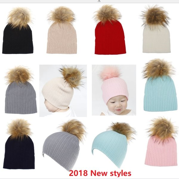 2018 INS Winter Christmas Baby Beanie Kids Rib knit hats Bonnet with fur pompom Faux fox fur /raccoon dog fur 24 designs Cotton Hotsale