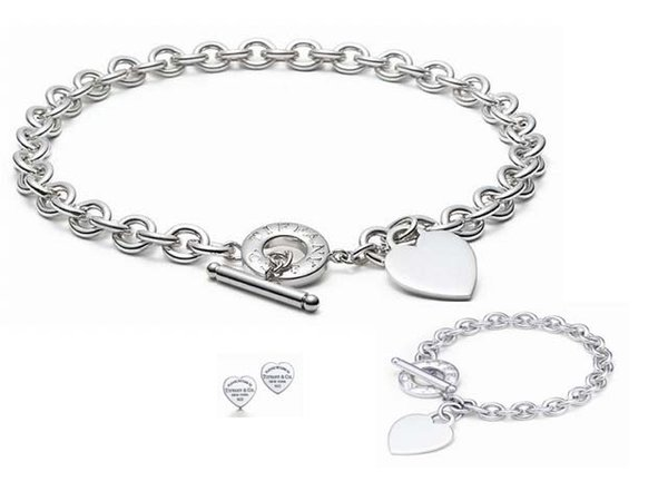 Quality Celebrity design 925 Silver Ring bracelet Earrings necklace Silverware Metal Heart-shaped Jewelery Set 3pc With Box