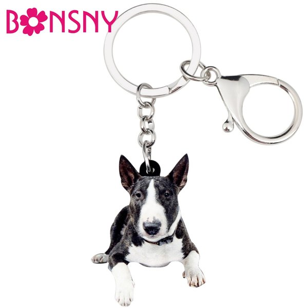 Acrylic American Pit Bull Terrier Dog Key Chains Keychain Rings Cute Animal Jewelry For Women Girls Handbag Charms Bulk