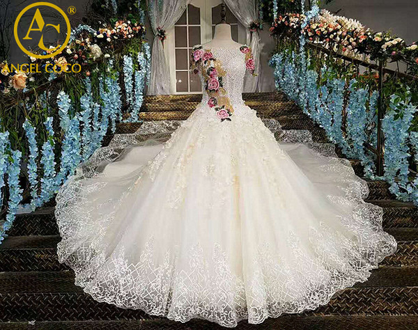 Gorgeous Embroidery China Bridal Gowns Shiny With Crystals Luxury ...
