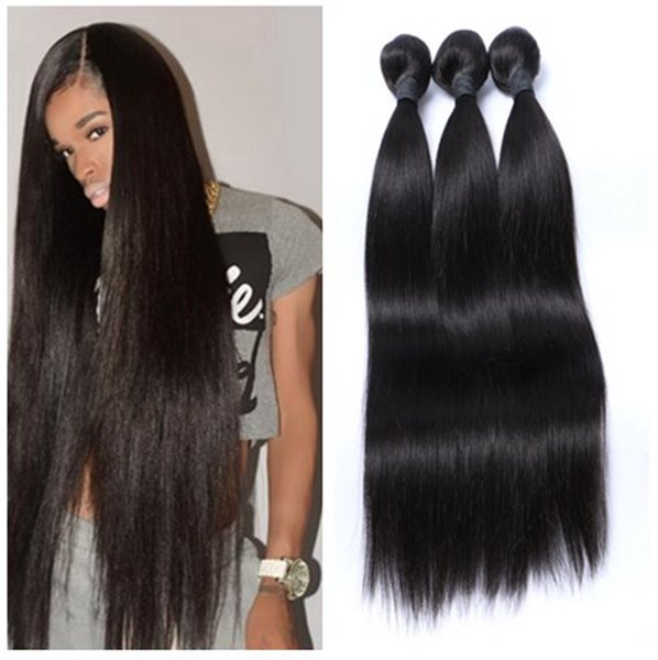 8A good Quality Human Hair Weave Straight hair Bundles Lot Cheap Brazilian Peruvian Malaysian Indian Virgin Hair Wefts