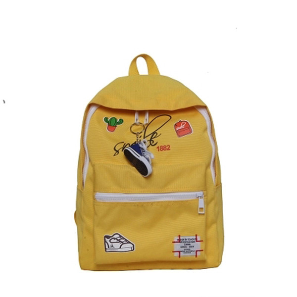 Bags for women Schoolbag girl Korean version of high school students fashion trend large capacity embroidery badge backpack man