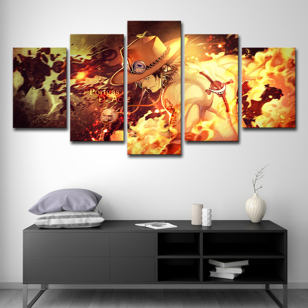 2019 Canvas HD Prints Paintings Modern Wall Art Anime Poster 5 Panel One  Piece Ace Pictures For Living Room Home Decor From Print_art_canvas, $16.41  | ...