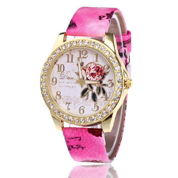 Big Dial Diamond Flower Watches Women Fashion Dress Flower Leather Wristwatches Quartz Watch Personality Casual Relogio