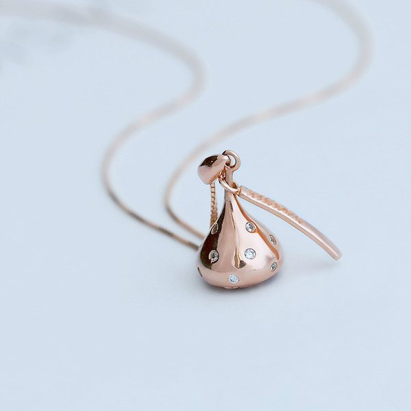 925 Серебряные розы Золотое Шоколадное Ожерелье Сладкая Цепная Модная Женская Подвеска