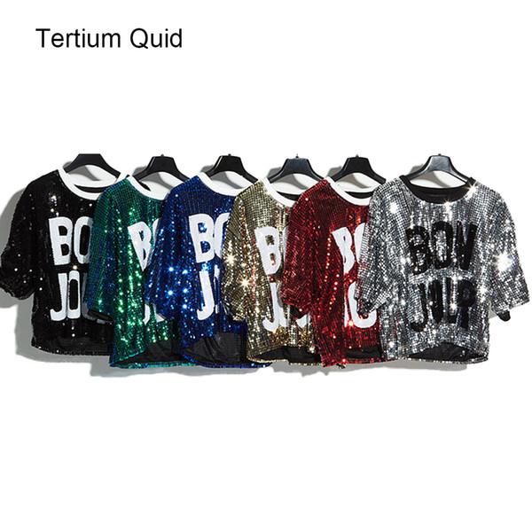 2018 Glitter T Shirt Women Sequin Shirt Crop Top Letters Harajuku Fashion Style Tee Shirts Hip Hop Dancing Free shipping