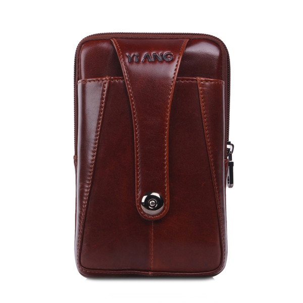 Brand Genuine Leather Men's Waist Belt Pack Fanny Bag 7' Cell Mobile Phone Wallet Punch Case Cover For Iphone 6X,7p X