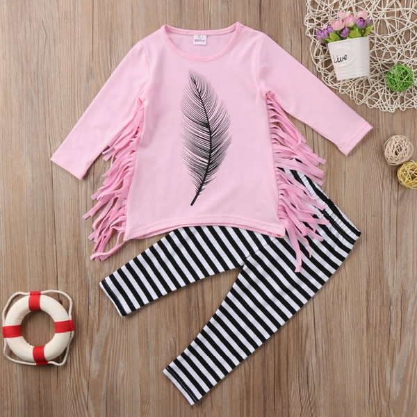 Tassel Girl Top T-Shirts Long Sleeve Striped Pants Kids Baby Girls Clothes Sets Cotton Cute Outfits Clothing Set Toddler Y1892605