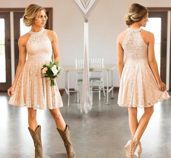 Günstige kurze Spitze Pfirsich Land Brautjungfern Kleider Perlen Neckholder Hochzeitsgast Kleider knielangen Trauzeugin Kleider HY263