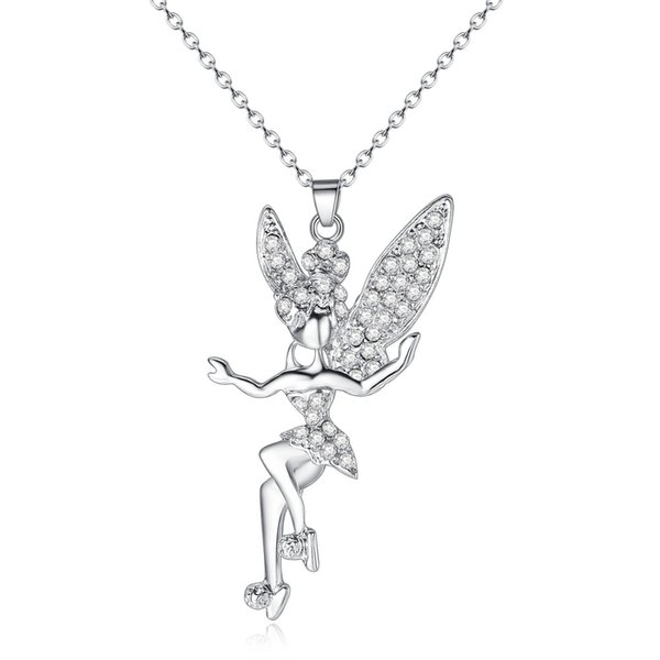 New Silver Ballerina Angel CZ Crystal Necklaces & Pendants For Women Gift Fashion Jewelry