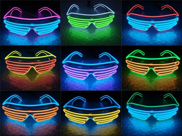 LED Sunglasses Flashing EL Luminous Light Up Neon Glasses Costumes Party Decorative Lighting Activating Prop Party Decoration D0491