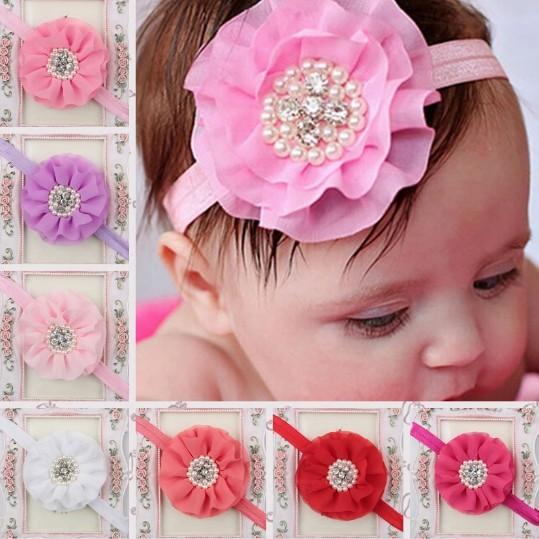 Niños calientes niños Baby girls perla diamante gasa flor Diadema Headwear Hair Band Head Piece Accessories 15 colores