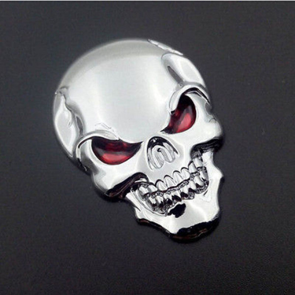 10PCS / Lot 3D Skull Car Boot Chrome Badge Universal Auto Art posteriore Truck Emblem Sticker