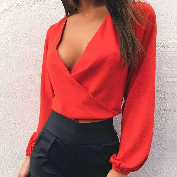 T-shirt femme mode été Tops dos nu sexy T-shirt manches longues col V blanc Noir Taille S-L