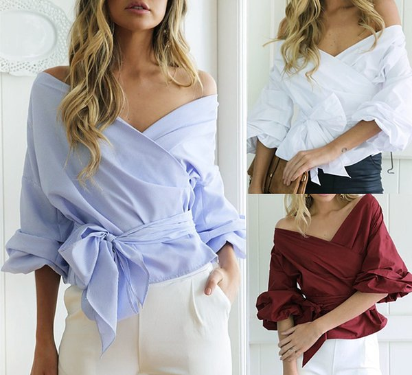 Elegant Women Striped Off Shoulder Blouse Shirts Sexy Waist bow Tie 2018 Flare Sleeve Tops Slash Neck Office Ladies Blusas size S-XL