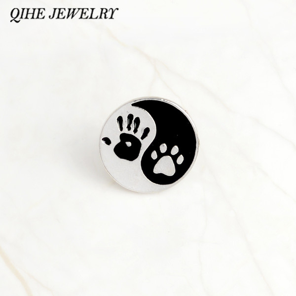 QIHE JEWELRY Taiji Ying yang black and white round pendant Human hand print and dog print pins Lapel pin Badge Best friend