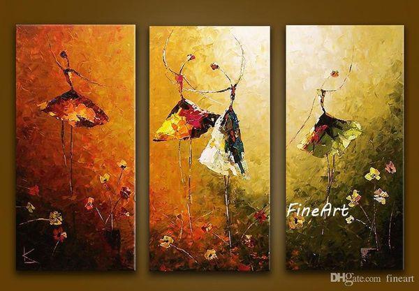 ручной росписью картины маслом 3 шт. современные абстрактные картины балета холсте картина маслом стены искусства украшения дома