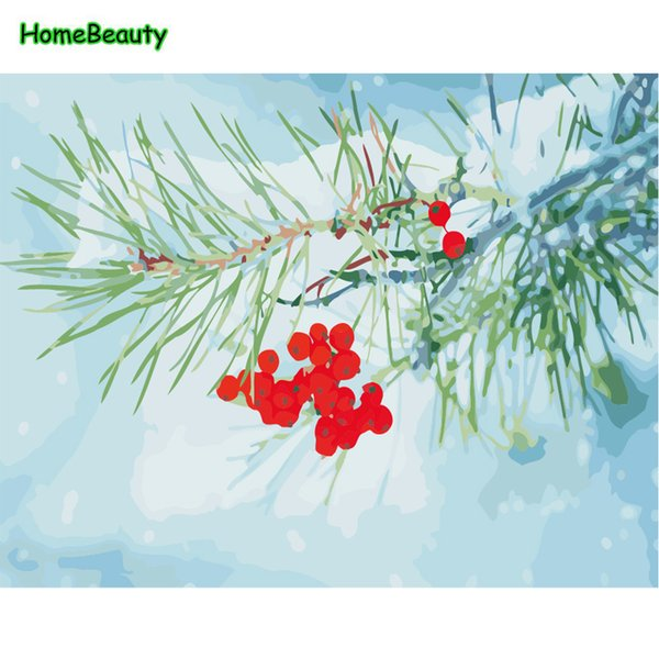 Draw pictures by numbers on canvas snow landscape paintings for living room home decorations wall art acrylic paints WY5025