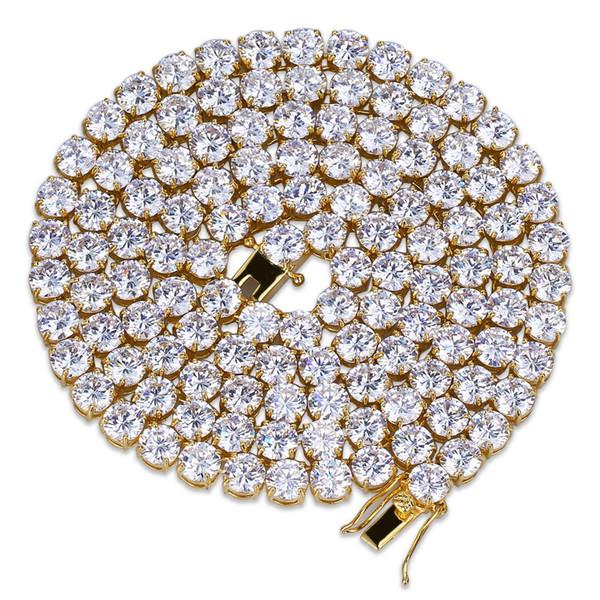 Хип-Хоп Розовое Золото Золото Серебро 5 мм Кубический Циркон Теннис Цепи Ожерелье