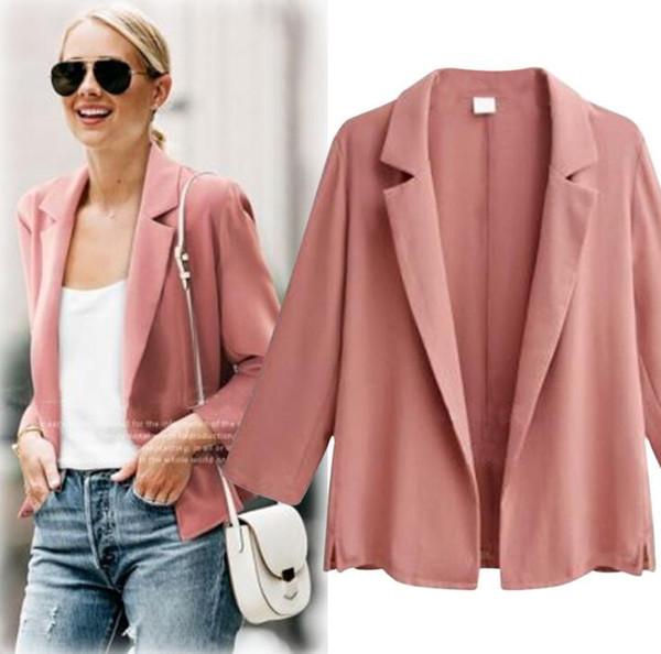 2018 Primavera das Mulheres Plus Size Casaco Blazer Fino Estilo Curto Outwear Casaco Cardigan Causal Coats Rosa Apricot C3252