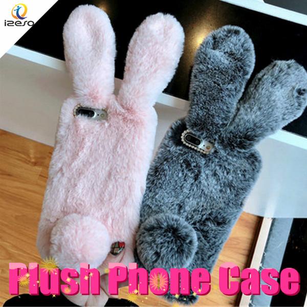 Caso di lusso caldo 3D coniglio telefono peluche pelliccia pelosa TPU copertura posteriore per iPhone Xs Max Xr X 8 7 6s Plus