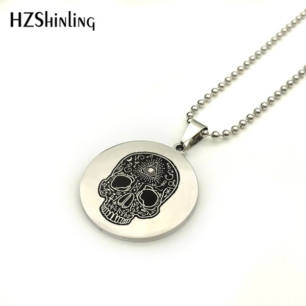 SS-0023 2018 New Sorcerer's Skull Necklace Pendant Silver Round Stainless Steel Necklaces Art Handmade Jewelry Ball Chain