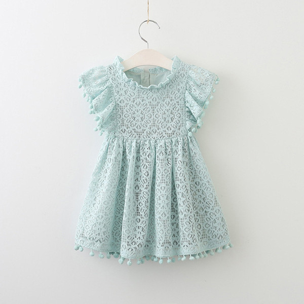 Girl lace flying sleeve Princess hollowed out dress kids boutique skirts children top quality beauty summer dresses