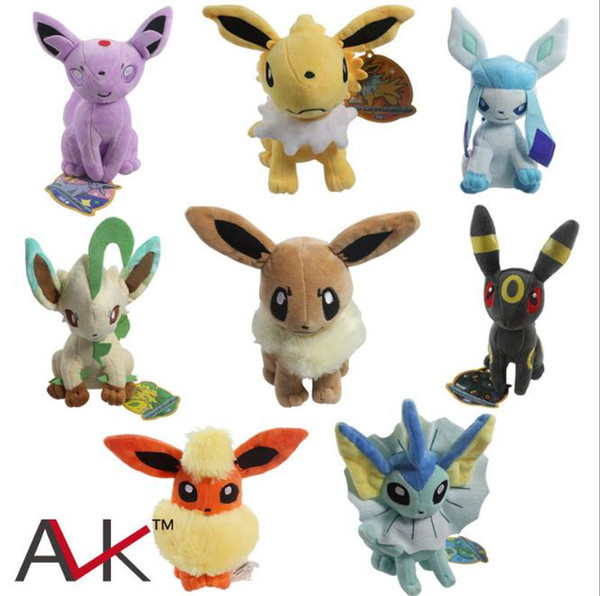 8pcs/Lot Leafeon Umbreon Espeon Jolteon Vaporeon Flareon Eevee Sylveon Soft Doll Plush Toy For Kids Christmas Halloween Best Gifts 8