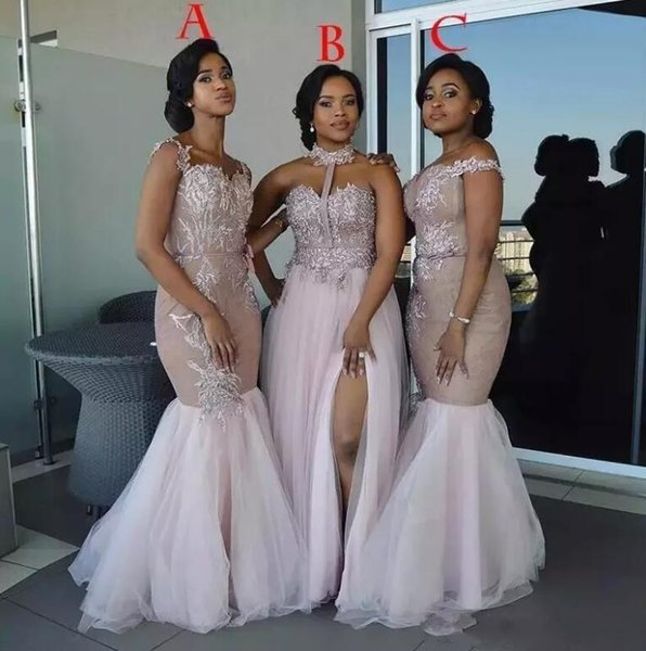 Mermaid Bridesmaid Dress Vestidos De Maid Of Honor Dresses Arabic Nigerian African Formal Dress For Wedding Guest Chiffon Lace Front Slit